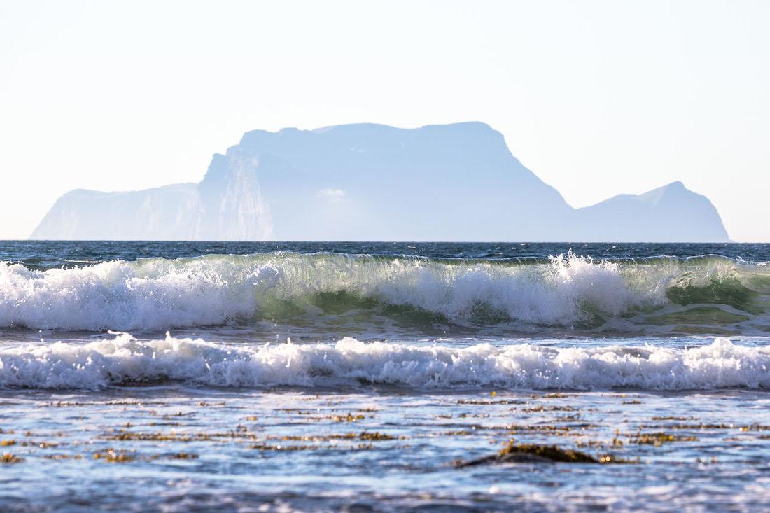 Arctic Beach Beauty In Nature Day Fjord Horizon Over Water Landscape Mountain Nature Nature No People Northern Norway Norway Ocean Outdoors Scenics Sea Sky Splashing Spraying Water Wave The Great Outdoors - 2017 EyeEm Awards