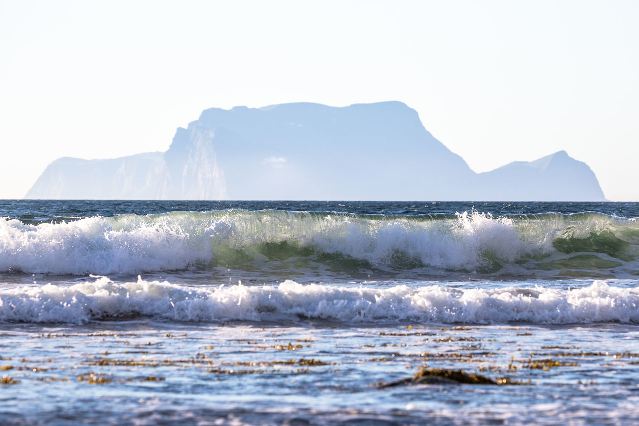 Arctic Beach Beauty In Nature Day Fjord Horizon Over Water Landscape Mountain Nature Nature No People Northern Norway Norway Ocean Outdoors Scenics Sea Sky Splashing Spraying Water Wave