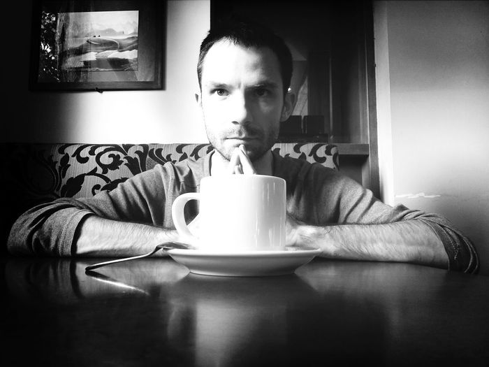 Black And White Portrait People Men Coffee Time