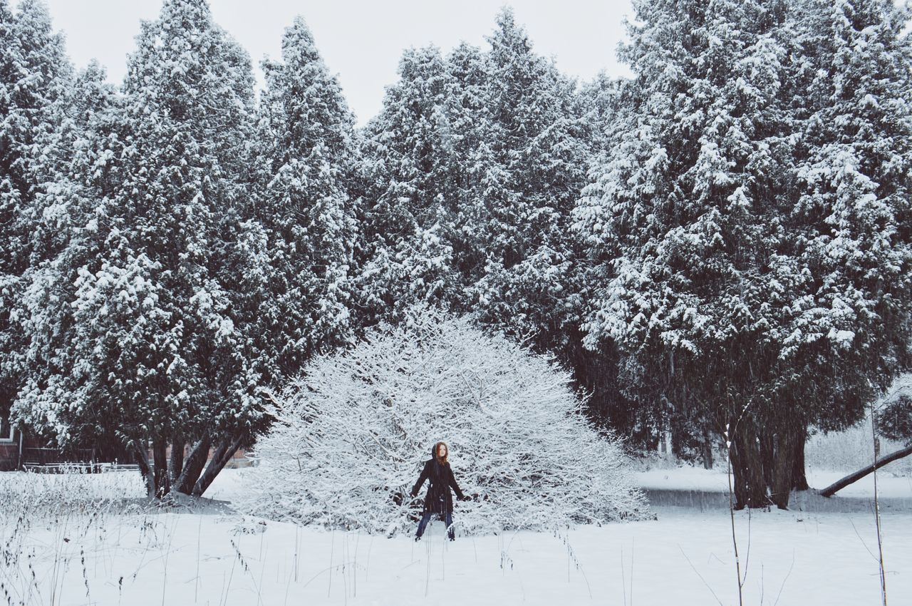 Adults Only Beauty In Nature Cold Temperature Day Full Length Landscape Nature Nature_collection Naturelovers One Person Outdoors People Russia Sky Snow Snowflake Snowing Tree VSCO Vscocam Warm Clothing White Winter