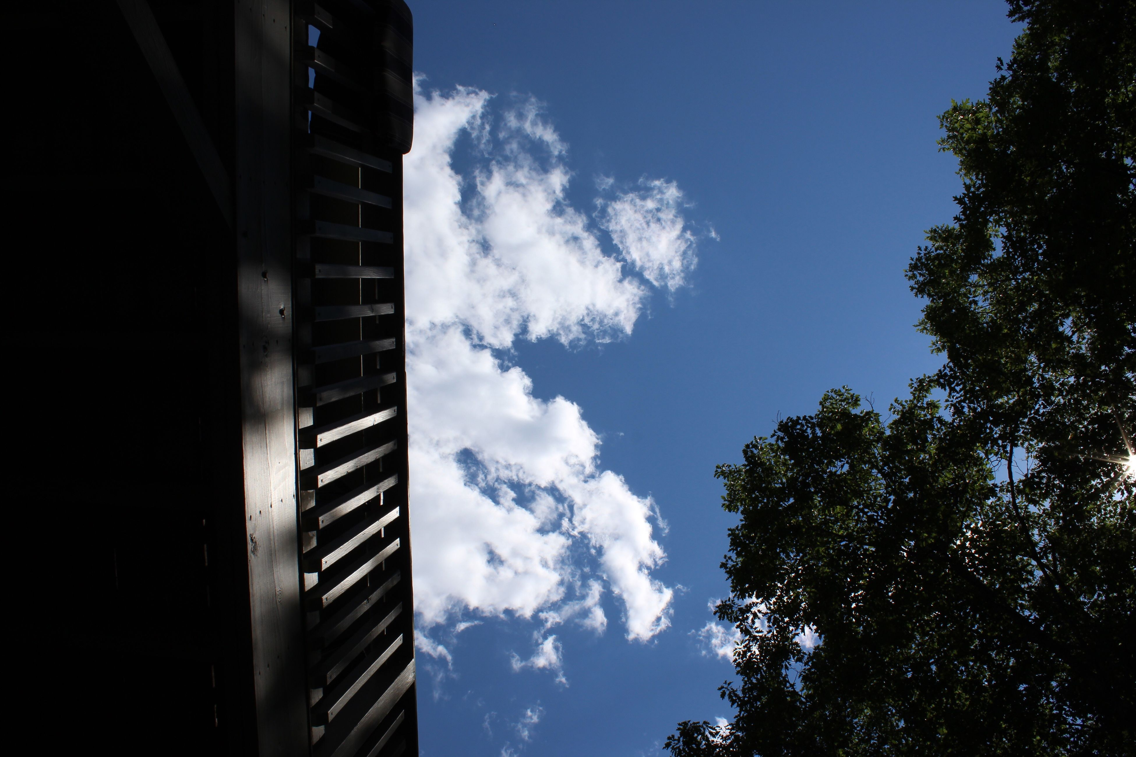 sky, low angle view, cloud - sky, architecture, day, no people, built structure, tree, sunlight, outdoors, nature