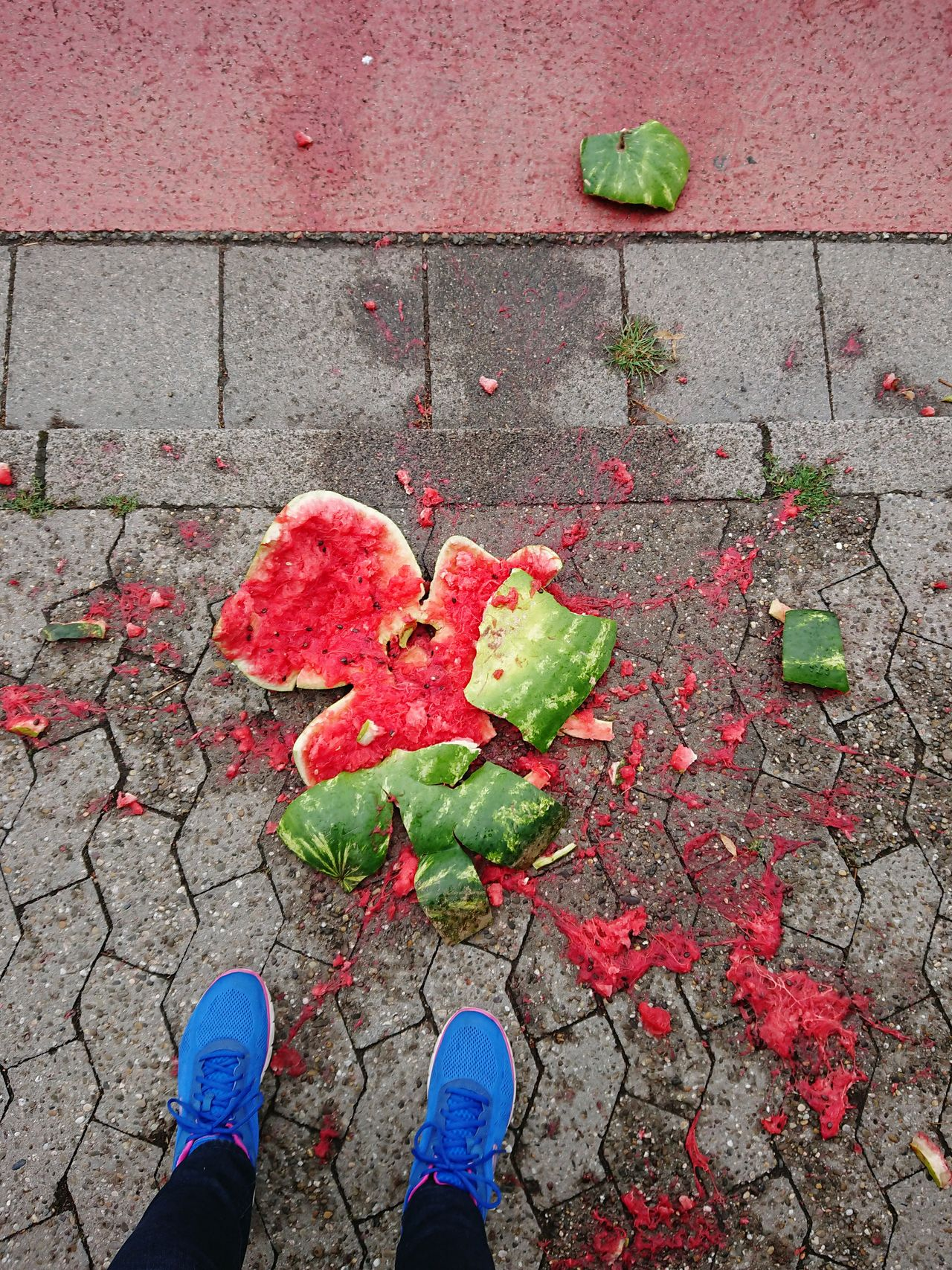 Smashed!!!...Not mine 😂 Shoe Human Leg Low Section Day High Angle View Outdoors Human Body Part One Person Standing Red Leaf Close-up Real People Nature People Woman Sommergefühle Watermelon Smashed Watermelon Neon Life