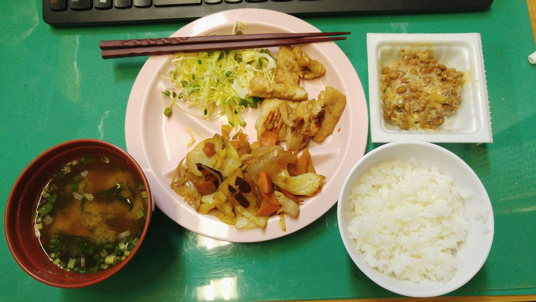 Breakfast Rice Miso Soup Natto Ginger Chicken 私の朝ごはん