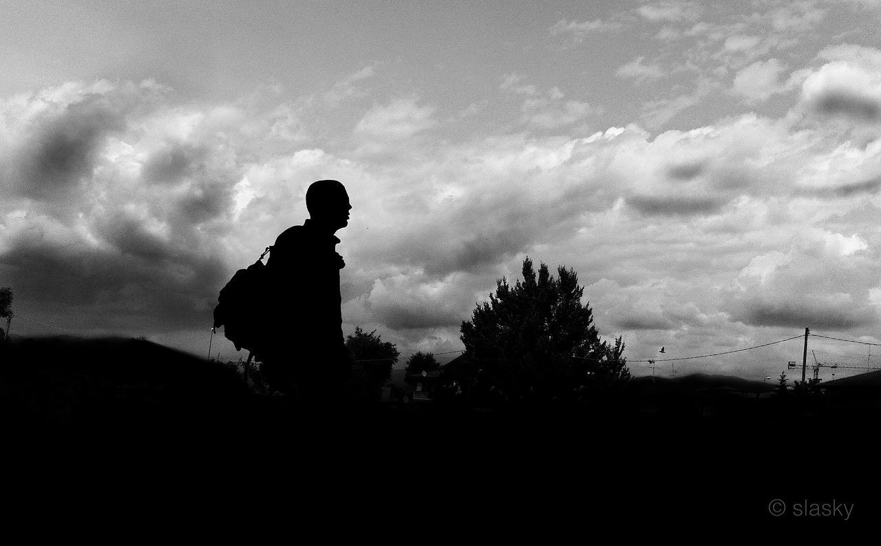 silhouette, one person, men, sky, cloud - sky, real people, nature, standing, outdoors, day, one man only, adult, people