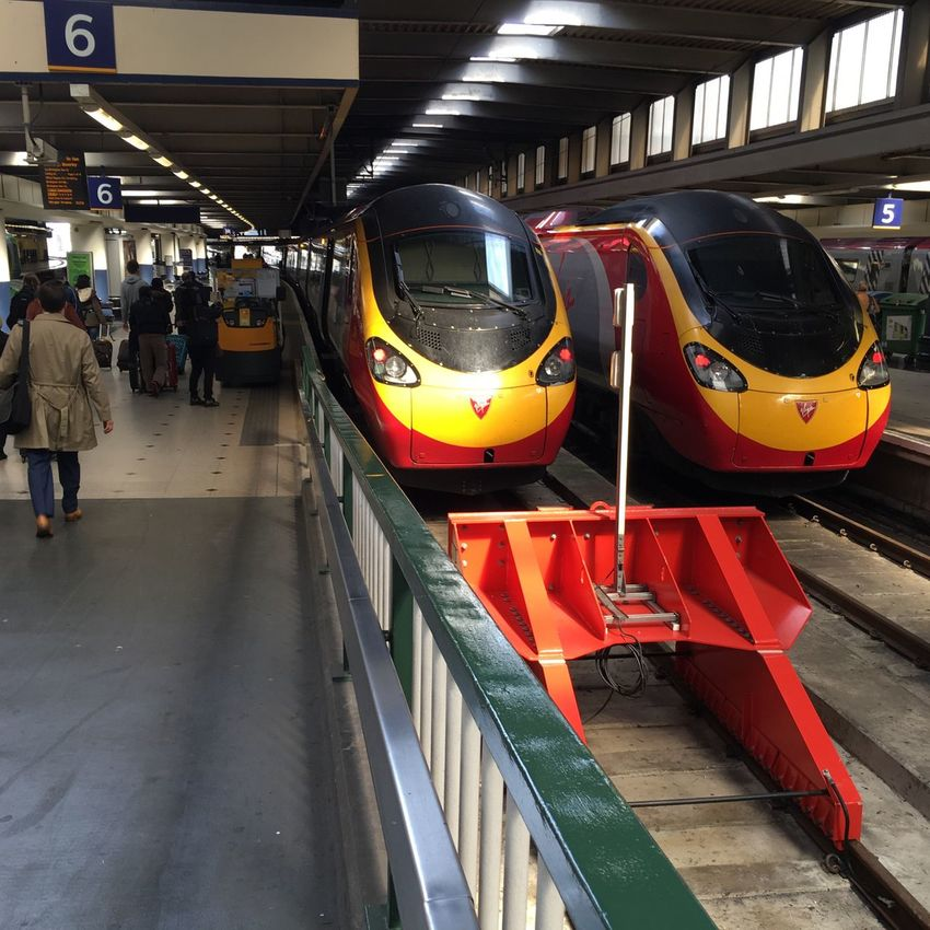 Where to today Destination Train Station Train Tracks Trains Travel Travelling London People Walking  Journey Platform Buffers Indoors  Red And Yellow