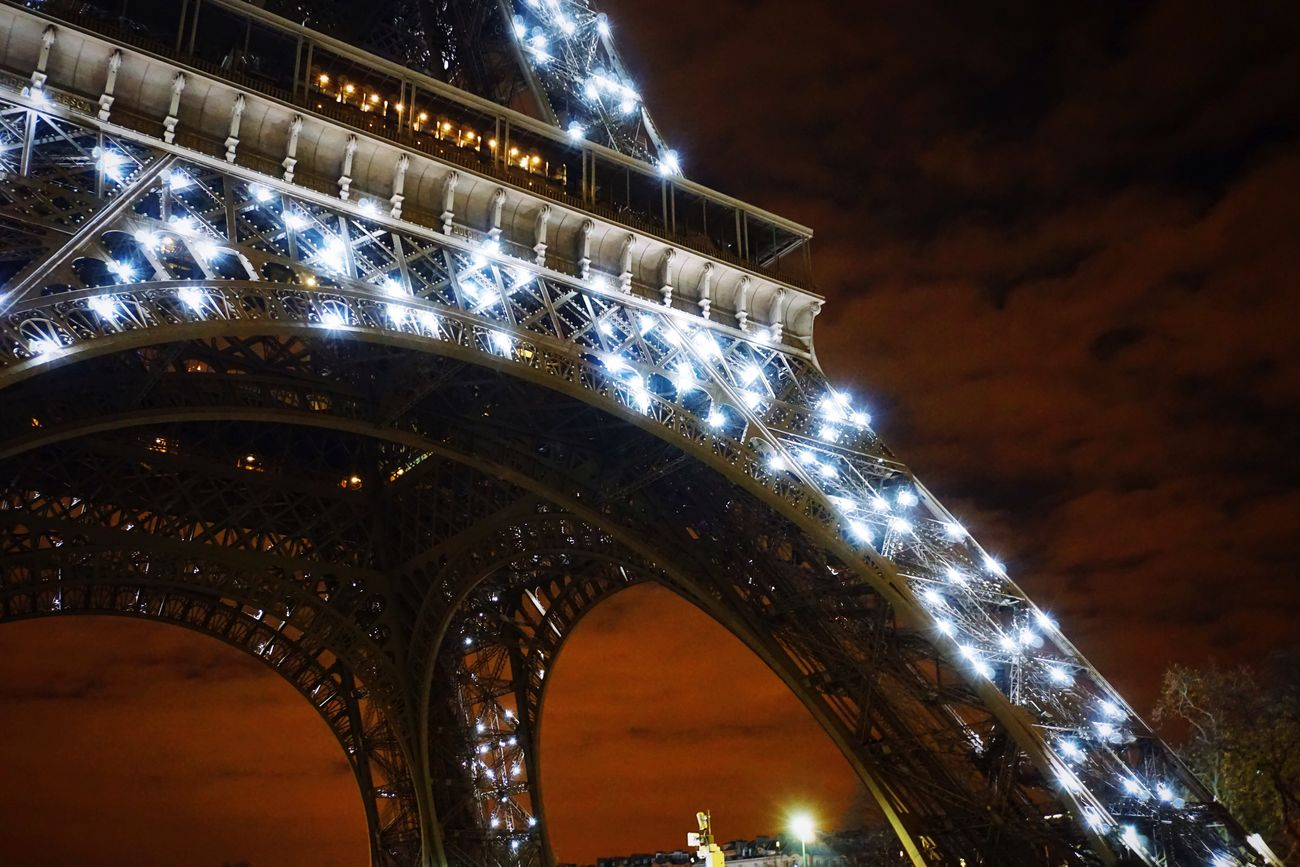Architecture Built Structure Night Illuminated Connection Sky Low Angle View Outdoors City Travel Destinations ParisByNight Bridge - Man Made Structure Paris Photography Eiffel Tower Dark Eye4photography  EyeEm Gallery