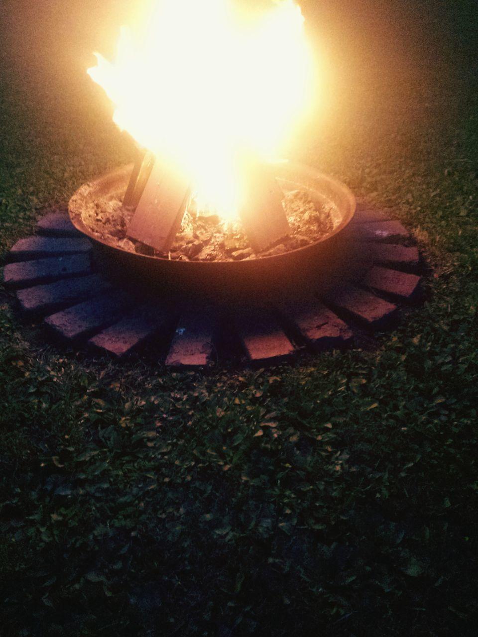 flame, burning, heat - temperature, glowing, fire pit, outdoors, night, no people, bonfire, grass, diya - oil lamp, diwali, close-up