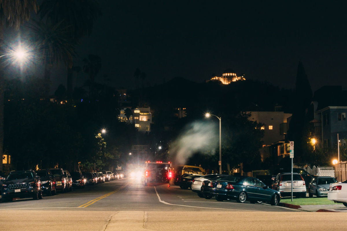 Car City City Street Griffith Observatory Griffith Park Griffithpark Hollywood Illuminated Land Vehicle Los Angeles, California Losangeles Night On The Move Residential District Road Street Street Light Thaitown Transportation Urban