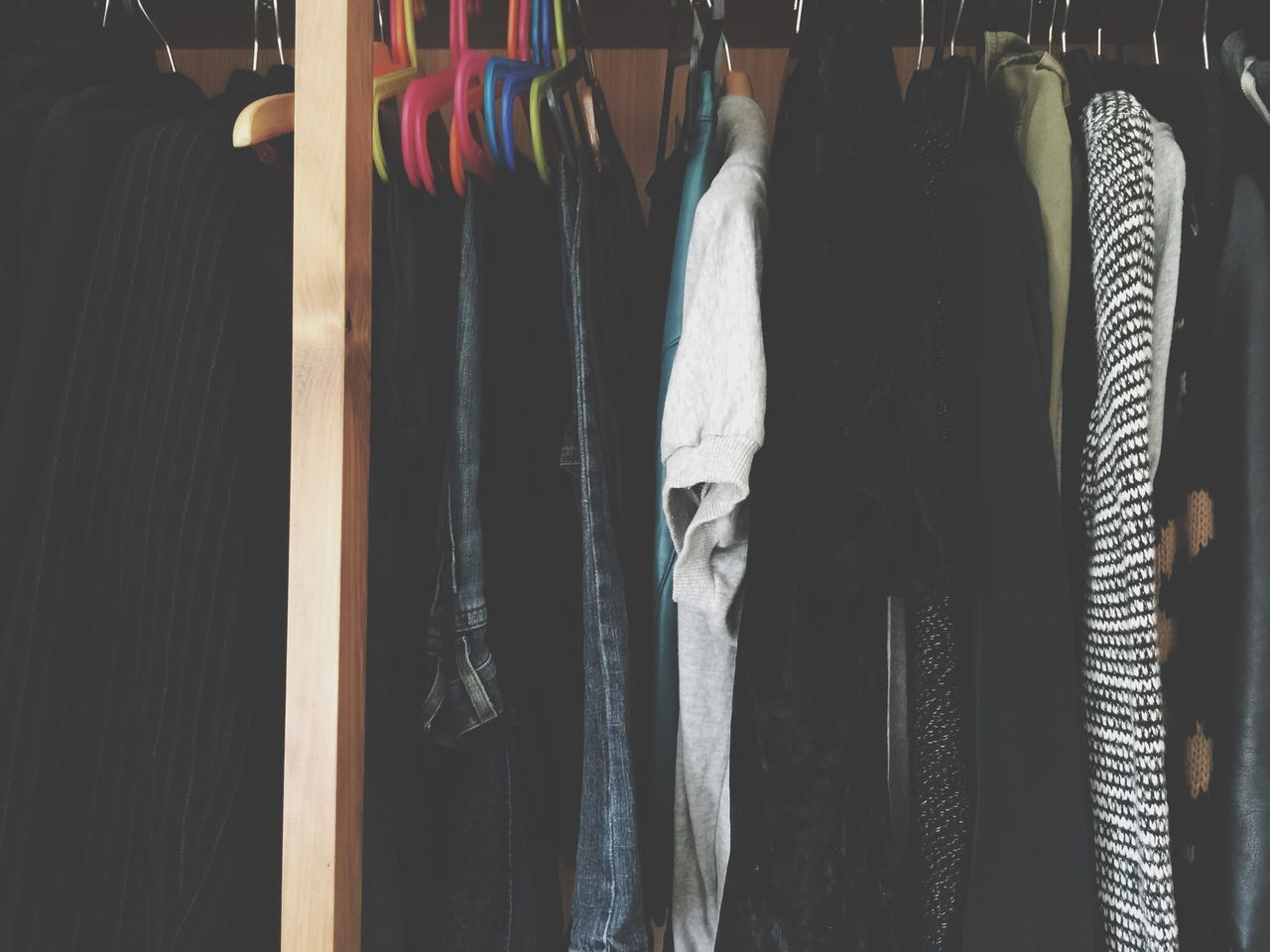 Clothes Hanging On Closet At Home