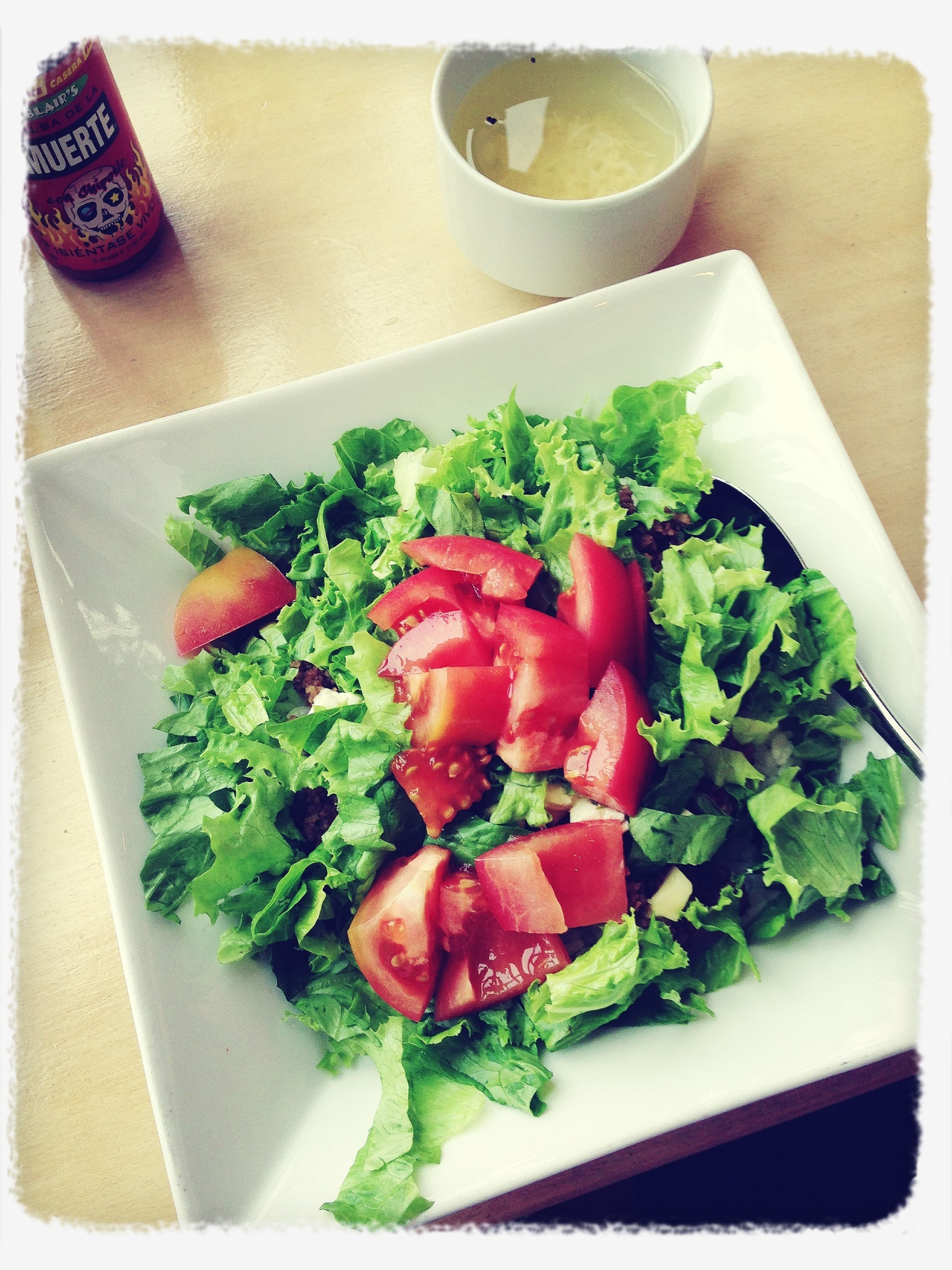 food, food and drink, freshness, indoors, healthy eating, plate, vegetable, still life, salad, ready-to-eat, table, high angle view, tomato, close-up, meal, serving size, indulgence, directly above, slice, served