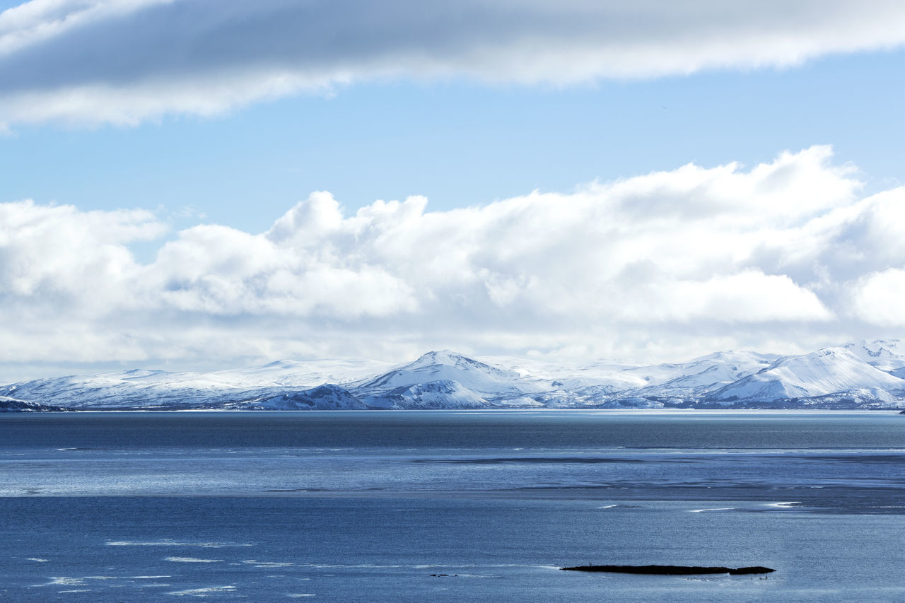 Cloud - Sky Cold Temperature Environment Extreme Terrain Frozen Glacier Ice Iceland Idyllic Landscape Mountain Nature Non-urban Scene Outdoors Pingvallavatn Polar Climate Scenics Snow Social Issues Thingvellir National Park Tranquil Scene Tranquility Water Wilderness Winter