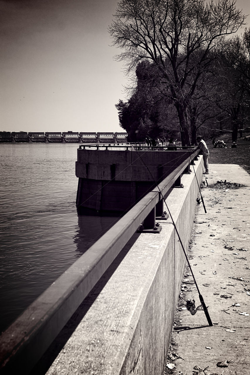 water, tree, railing, clear sky, pier, sea, travel destinations, tranquil scene, day, tranquility, sky, outdoors, riverbank, scenics, nature, tourism, no people, footpath, journey, the way forward, non-urban scene, shore