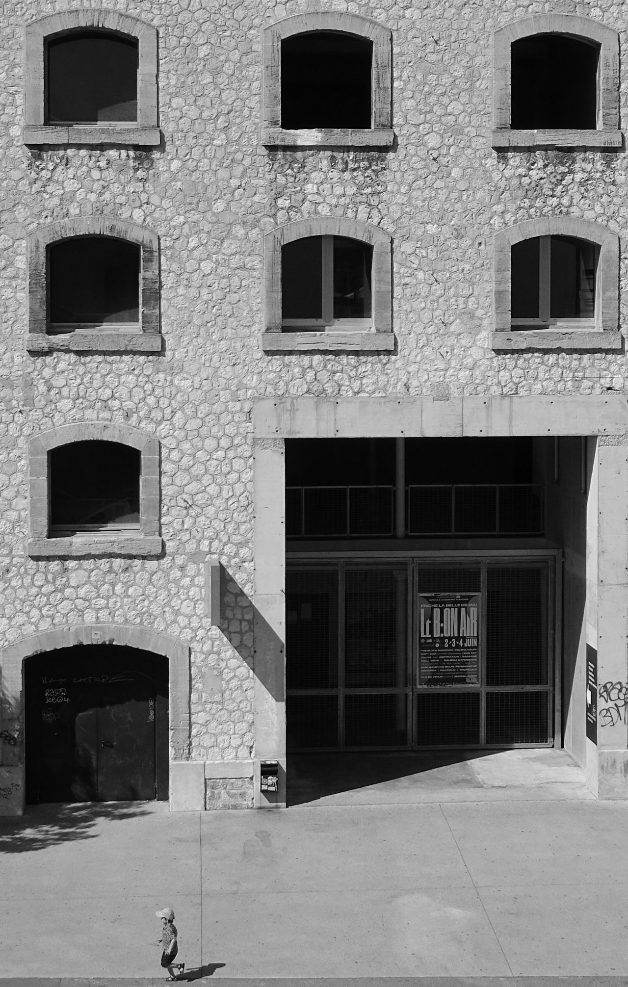Window Building Exterior Architecture Built Structure Façade Outdoors No People Day Perspective Photooftheday Perception Is Reality SONY DSC-HX400V Blac&white  Black And White Collection  EyeEm Bnw Monochrome _ Collection Full Length Lifestyles Real People One Person Architecture Bnw_society La Friche Belle De Mai The Street Photographer - 2017 EyeEm Awards BYOPaper!