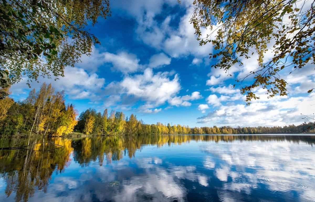 A lake view at Tampere, Finland Reflection Water Lake Tree Tranquil Scene Waterfront Scenics Tranquility Beauty In Nature Calm Sky Nature Majestic Blue Standing Water Day Non-urban Scene Cloud Tourism No People