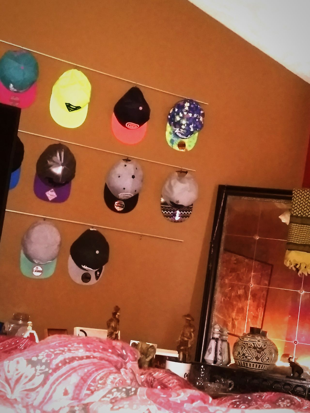 Indoors  Multi Colored Flat Bill Snapbacks No People High Angle View Variation Day