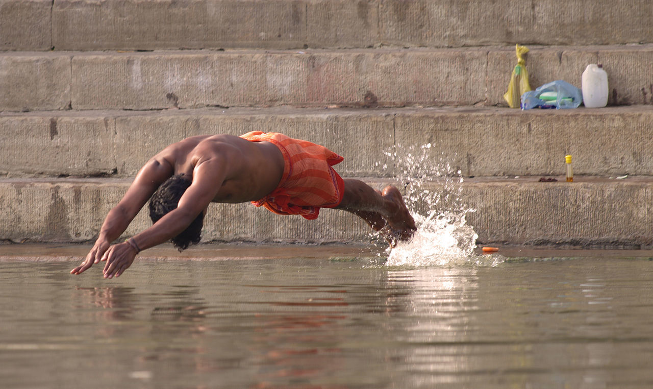 Adult Dive Full Length Ganges Ganges River Holy Water Holyplace India Indian Culture  Man One Man Only One Person Outdoors Side View Splash Swim Swimming Varanasi Varanasi, India Ganges, Indian Lifestyle And Culture, Bathing In The Ganges, Water EyeEmNewHere