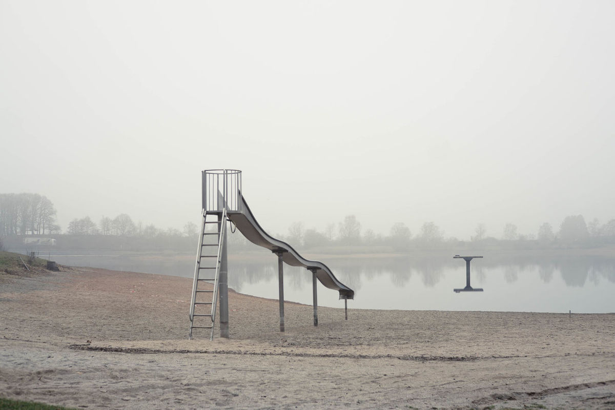 Beach Day Fog No People Playground Sand Sinister Tranquil Scene