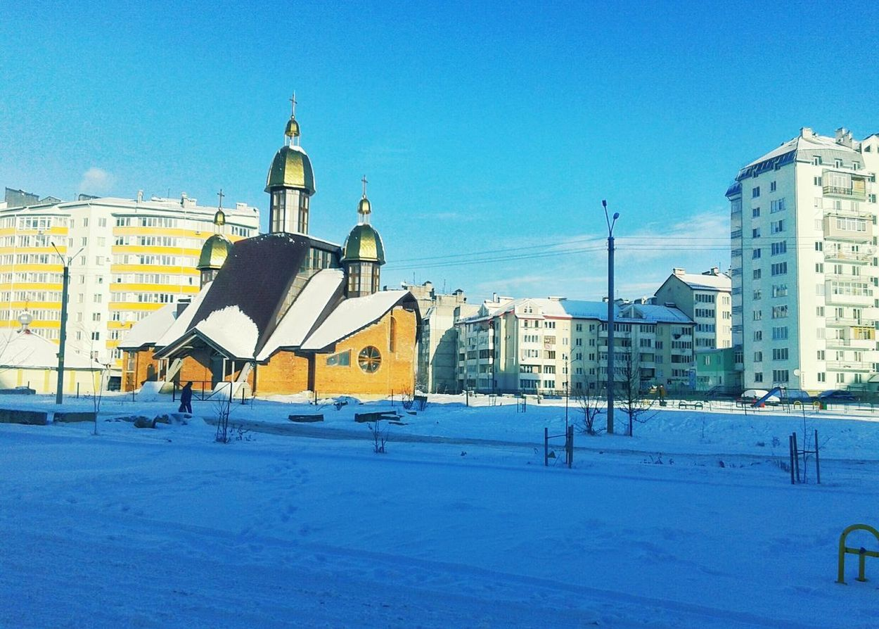 Winter Snow Morning Morning Sky Morning Light Sity Sityscapes Sityscape Building Story Buildings & Sky Building And Sky Cherch Blue Blue Sky Sity View Calm Ivano-frankivsk Ukraine 💙💛 Steetphotography Street
