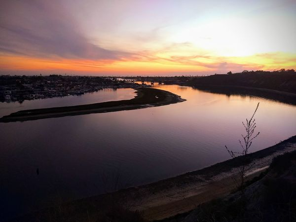 Sunset over Newport Back Bay, viewed from Castaways Park in Newport Beach, California, USA. Sunset Water Scenics Lake Landscape Sky Beauty In Nature Multi Colored Horizon Over Water Tranquility Outdoors Park Newport Back Bay Newport Beach California USA Placid  Peaceful