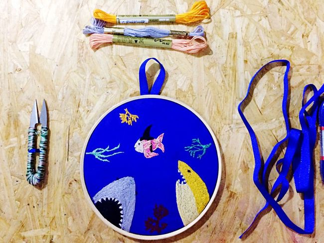 Let's pretend... Blue High Angle View No People Indoors  Day Shark Pretending Fish Embroidery Handmade Craft Design Ocean