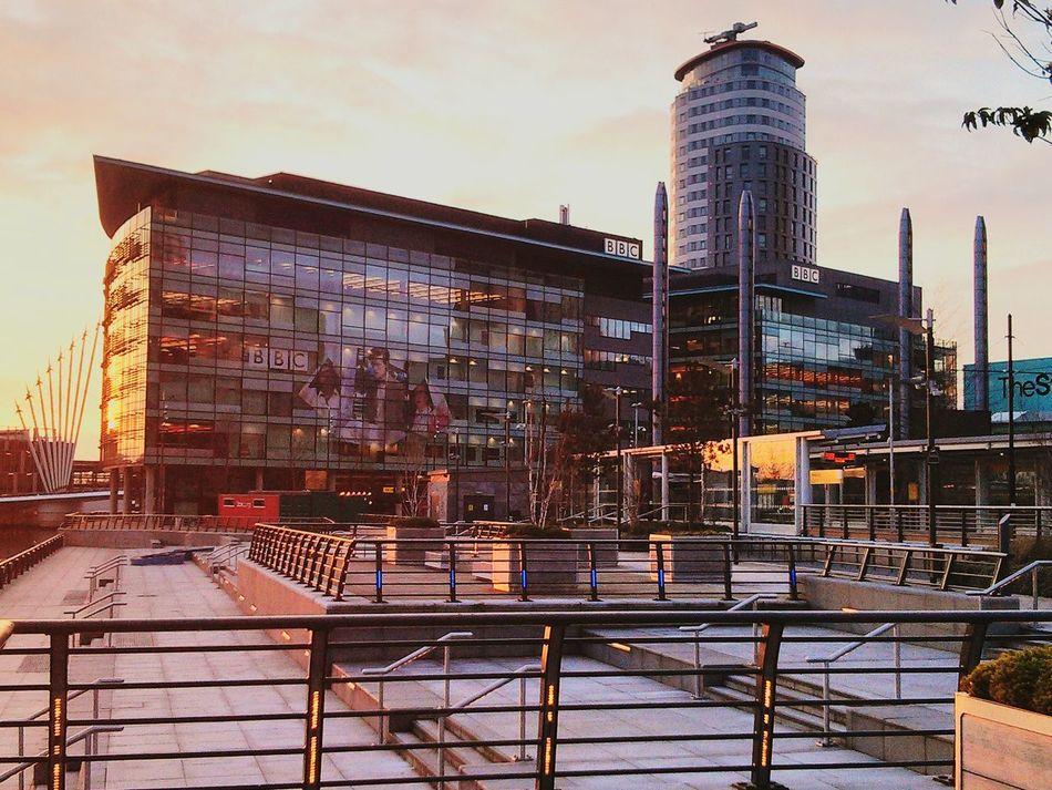 Salford Quays BBC England Uk Salford Architecture Outdoors Urban Skyline Day Sky Sunset EyeEmNewHere