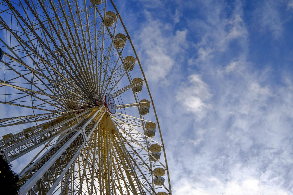 Amusement Park Ride Big Sky Carousel Ferris Wheel Low Angle View Sky