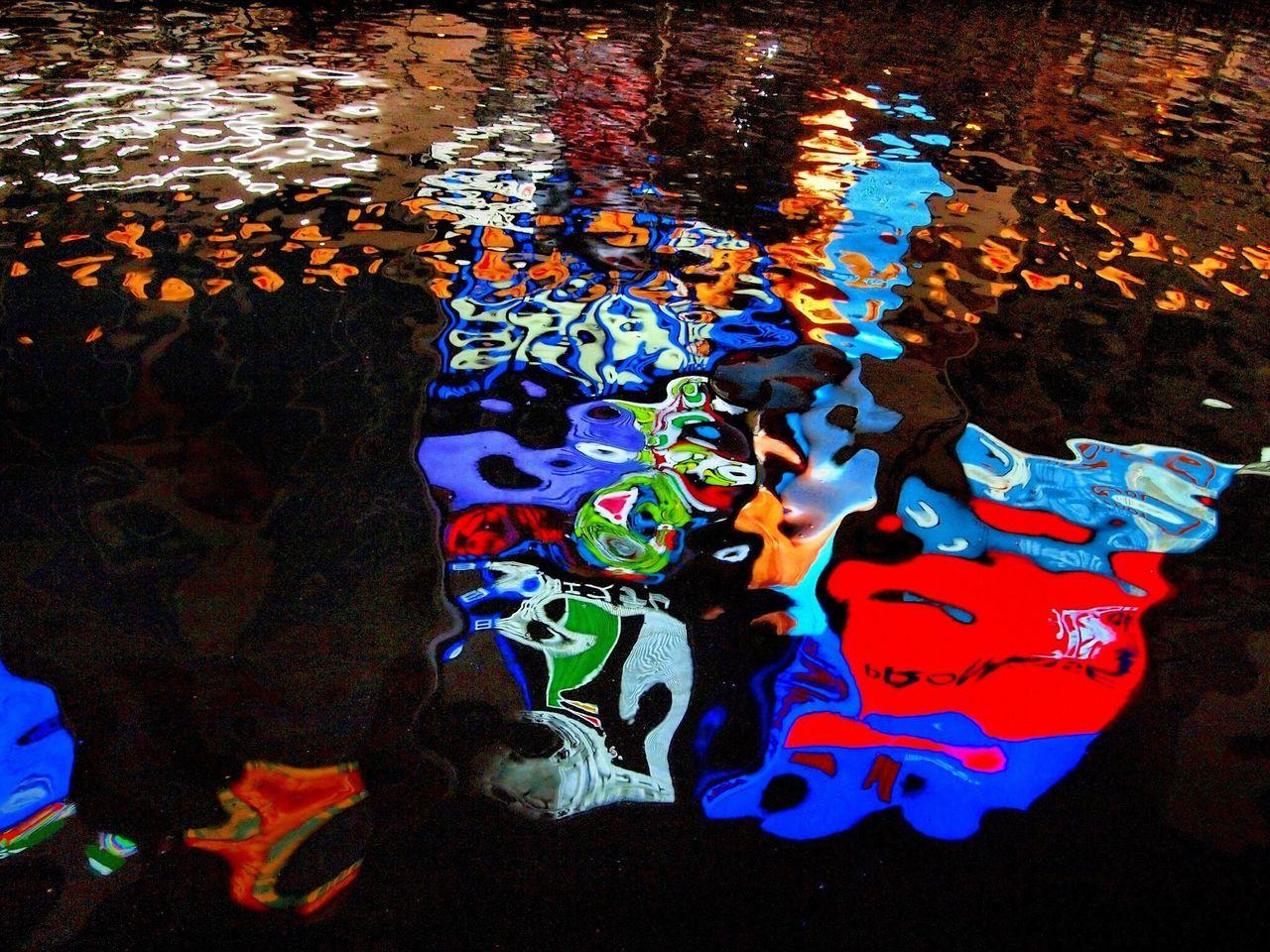 Time To Reflect the colorful neon of Ōsaka and lanterns reflecting on the Dōtonbori river (#1). Shinsaibashi, Ōsaka; Japan. 2014/08/31. OLYMPUS PEN Lite E-PL1. Water Reflections Neon Traveling
