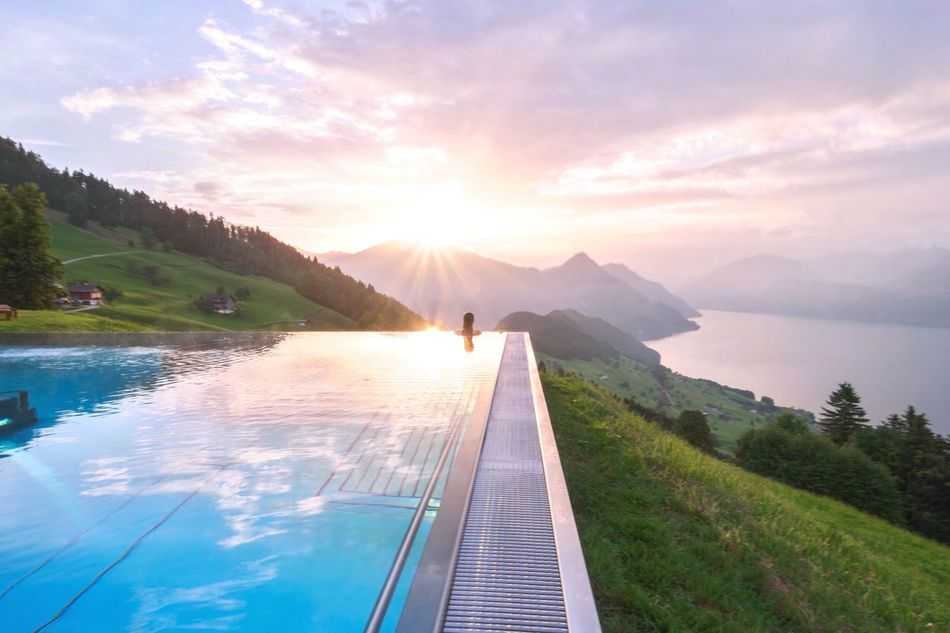 Colour Of Life Summertime Landscape Summer Travel Adventure Clouds Nature Clouds And Sky Reflection Mountains Switzerland Mountain Pool Sunrise Infinity Summer Views Sun Water Water Reflections