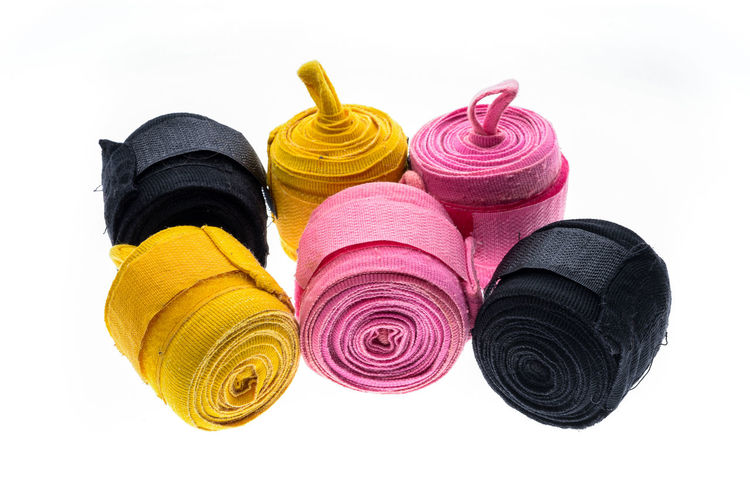 Bandages Boxing Boxing Bandages Boxing Gloves Boxing Wraps Color Colour Different Fabric Fighting Gloves Hand Isolated Pink Protecting Where We Play Protection Ribbon Roll Velcro White Wraps
