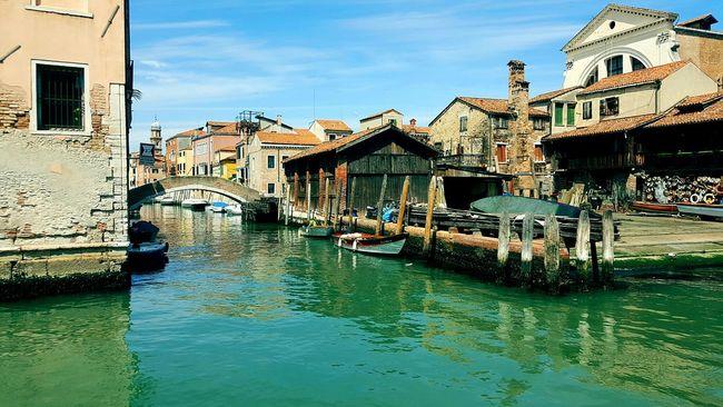 Italy Boats Boat Building Street Venice Canal Water Venezia Bridge Blue Water