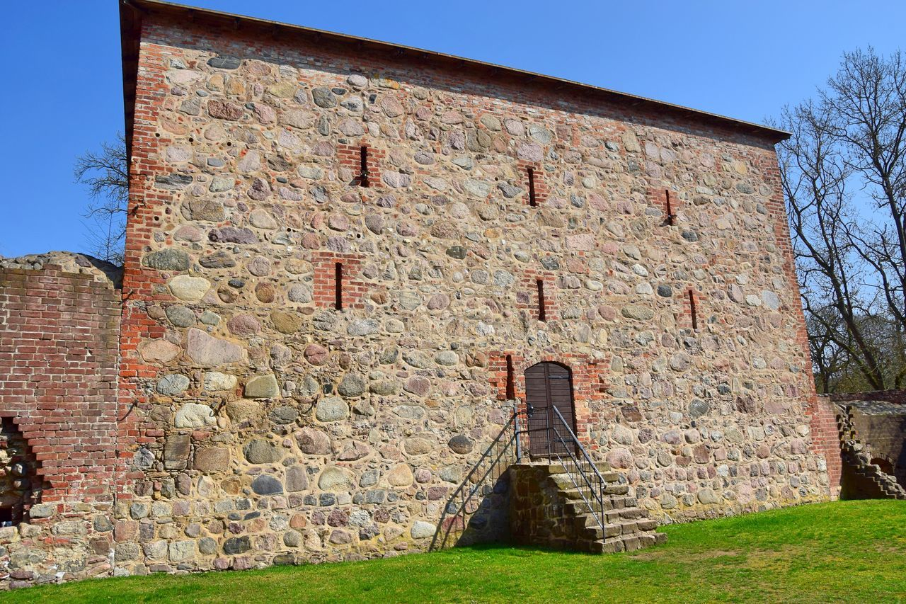 Architecture Blue Brick Wall Built Structure Castle Clear Sky Day Fieldstone Fort Historic Historical Building History No People Outdoors Sky Stairs Tourism Travel Travel Destinations Wasserburg Gerswalde