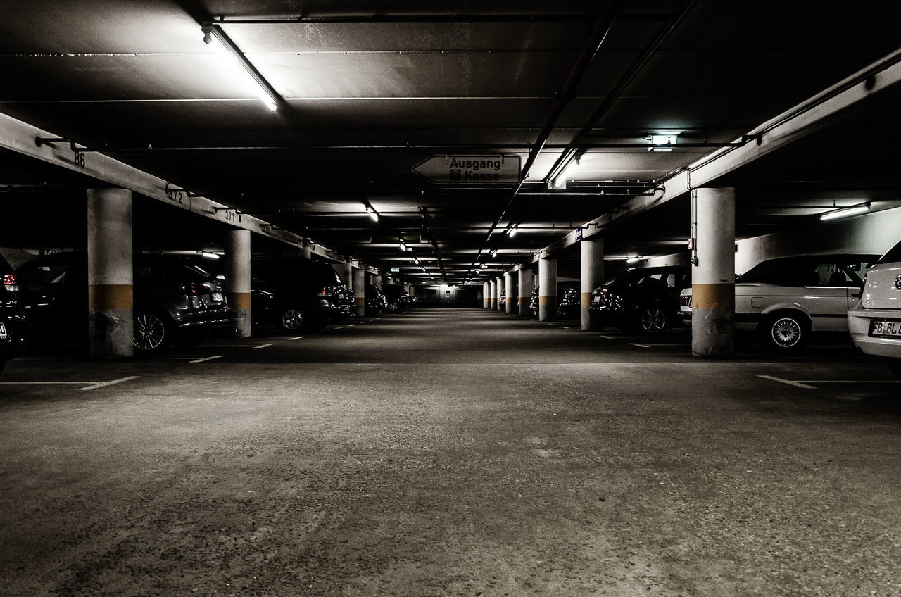parking lot, idstein Architectural Column Architecture Basement Beton Built Structure Ceiling Dark Exit Exit Sign Horror Illuminated Indoors  Neon Lights No People Parking Garage Parking Lot