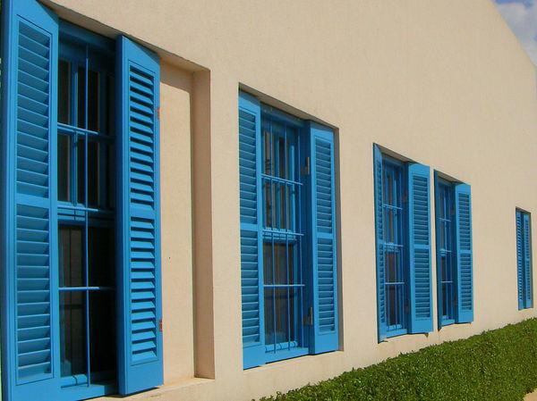 Blue slate windows, Haifa Haifa Quaint  Wooden Shutters Wooden Slats Architecture Blue Blue Window Blue Window Shutter Building Exterior Built Structure Day Greenary Hedge Israel Nature No People Outdoors Shrub White Wall Window