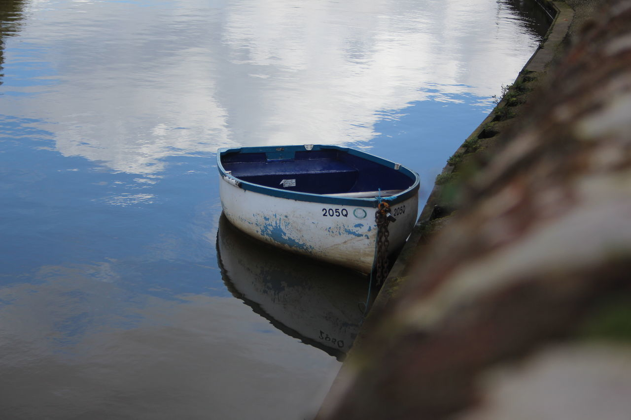 water, reflection, no people, nature, day, outdoors, lake, moored, nautical vessel, close-up, sky