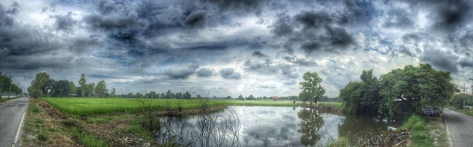 Panorama Landscape Rice Field Clouds Clouds And Sky Reflection Nature