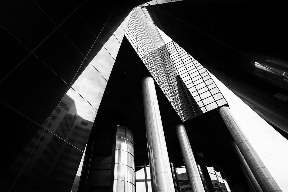 Architecture B&w Blackandwhite Building Exterior Built Structure City Construction Contrast Day Light Light And Shadow Low Angle View Modern Monochrome No People Outdoors Reflection Shadow Shadows & Lights Skyscraper Window