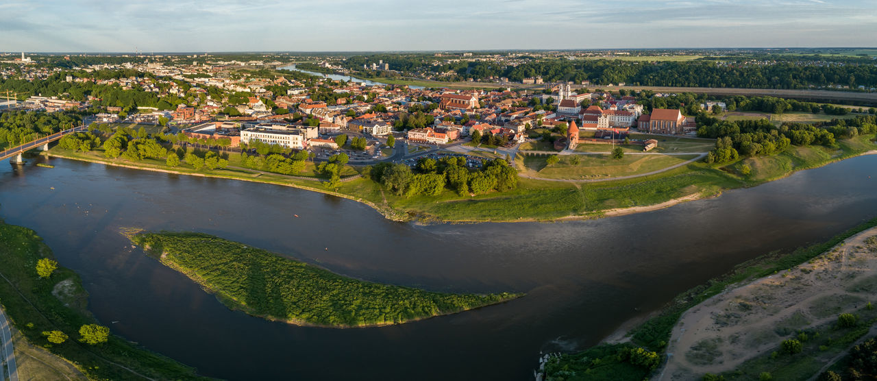 Kaunas old town panorama Aerial View Architecture Building Exterior Built Structure Day Drone  Drone Panorama High Angle View Mavic Mavic Pro Nature Neris No People Old Town Outdoors Panoramic River Sky Tree Water