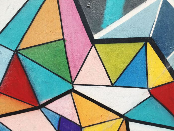 Wall Multi Colored Full Frame Pattern Backgrounds Colorful Geometric Shape Art And Craft Close-up No People Architecture Day Outdoors