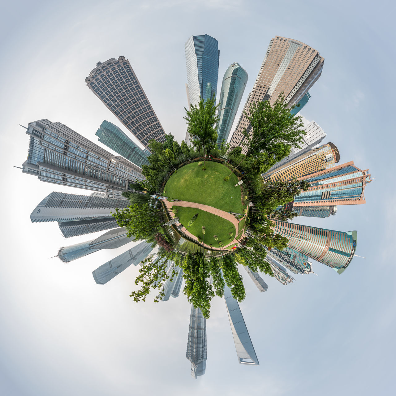 Shanghai skyscrapers Architecture ASIA Buildings China City Panorama Shanghai Skyline Skyscrapers Small Planet Nikon D810 1424mm Nikonphotography Travel Destinations Travel Photography Creative Square Nikon The Bund