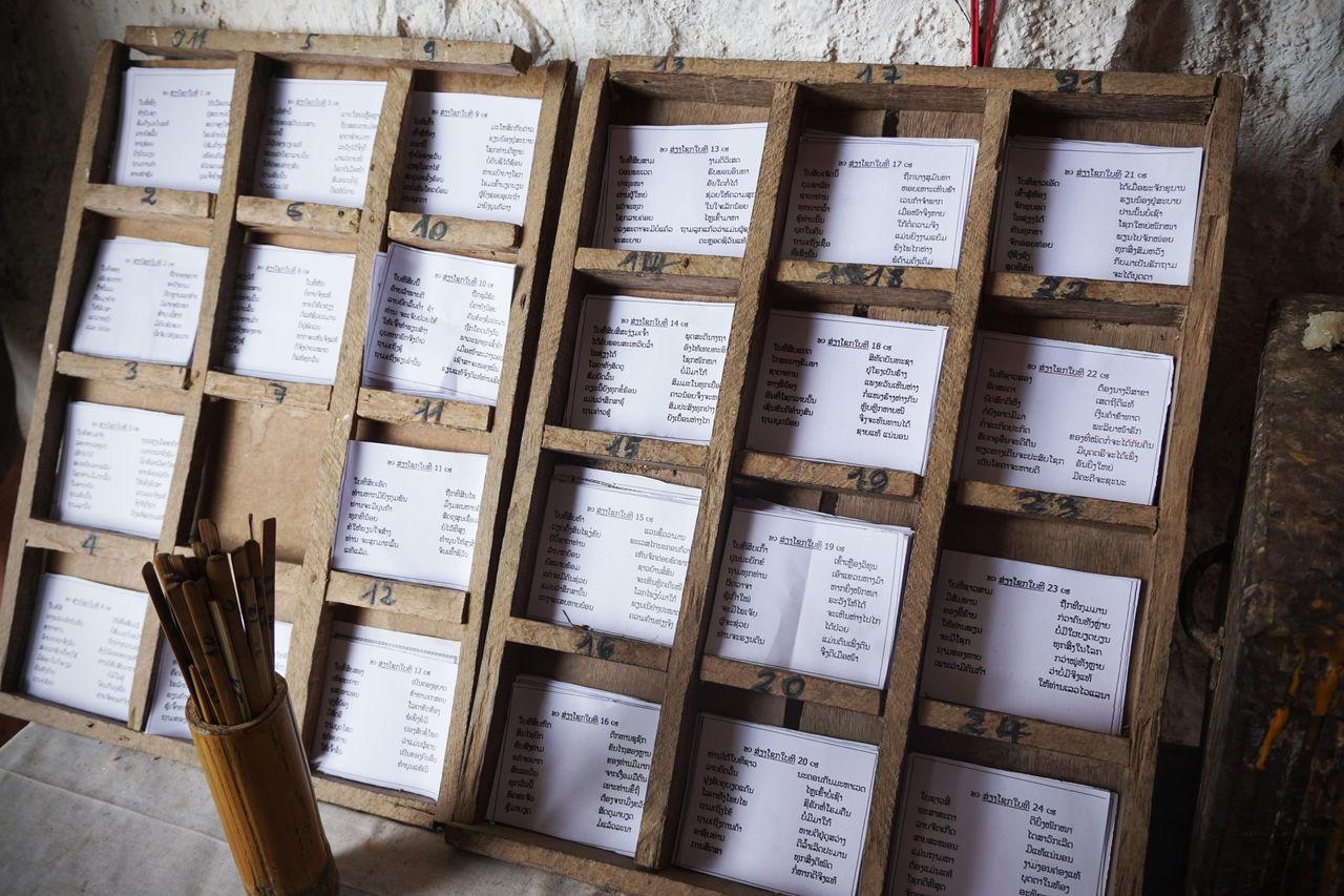 2017 Fortune Laos Luang Phabang Luang Prabang Omikuji Pak Ou Caves Paper Shelf Text Wood - Material おみくじ ラオス ルアンパバーン