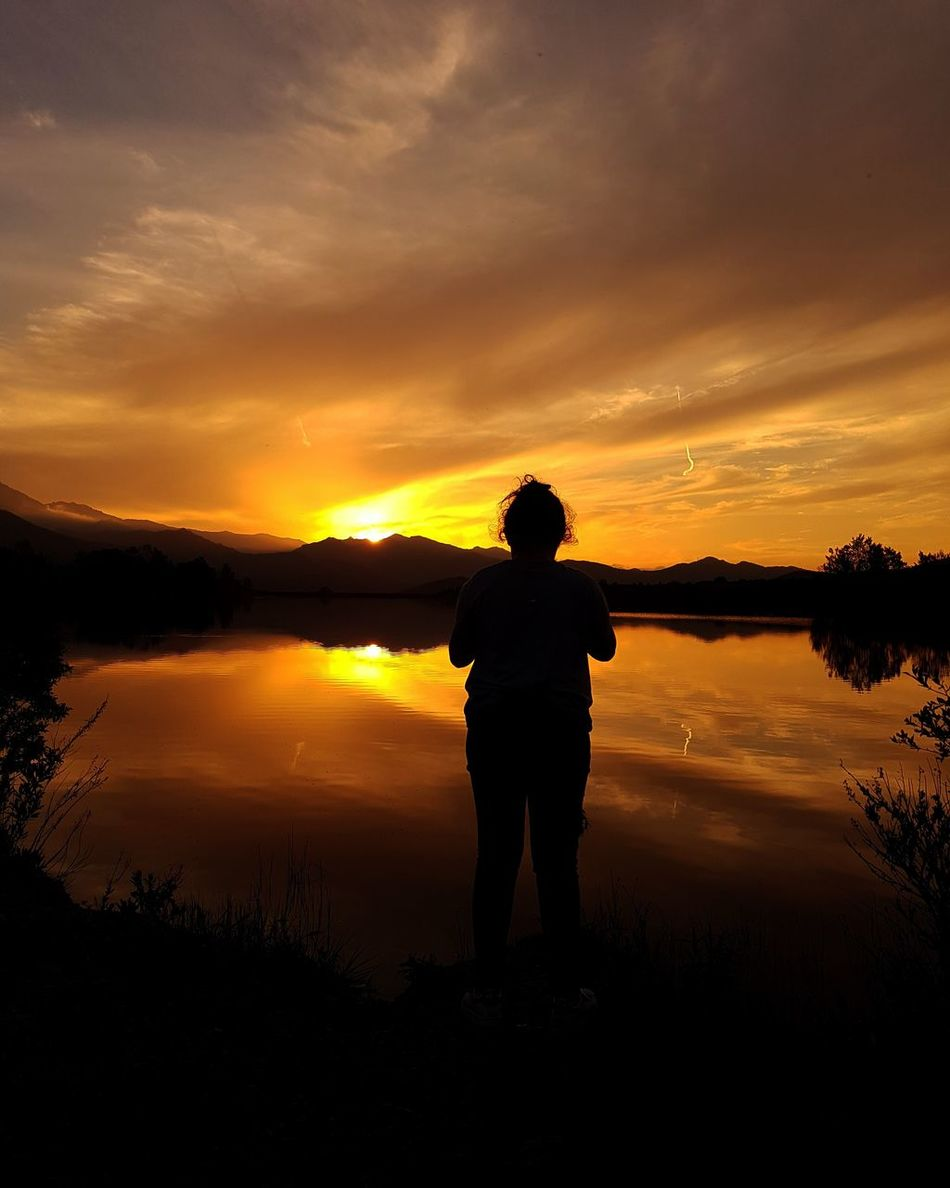 Silhouette Reflection Sunset Full Length Landscape Nature Tranquility Water One Person Cloud - Sky People Sky