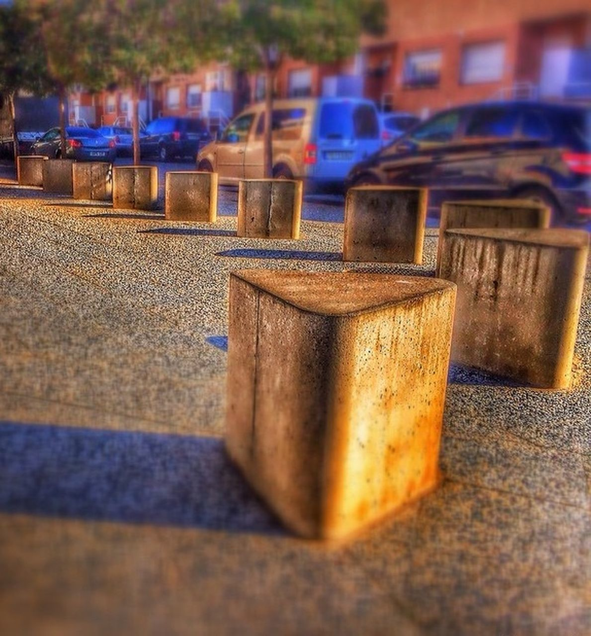 in a row, no people, selective focus, table, outdoors, close-up, day