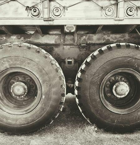 two of a tandem Blackandwhite Bnw Black And White Monochrome Military Transport Two Tires Round Heavy Black Minimal Truck Wheels BIG Huge!!