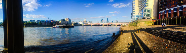 banskside pier and beach on the river thames at low tide Architecture Bankside Blue Bridge Building Exterior Built Structure City City Life Cloud Cloud - Sky Day Distant Footpath Harbor Outdoors Oxo Tower River River Thames Riverbank Sky Vista Water Waterfront Wide Angle