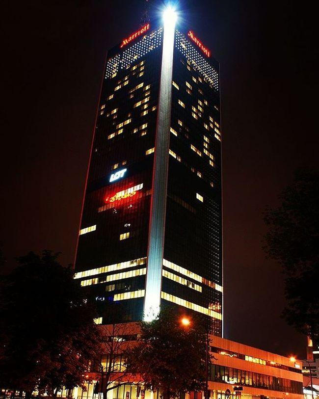Marriott hotel Warsaw. Warsaw Warszawa  Marriott Hotel Night City Skyscraper Lim Poland Lightatnight @marriot