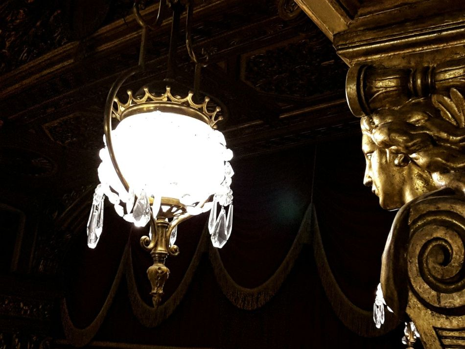 Theater Teatro Carignano 17th Century Turin Italy Details Gallery Hanging Low Angle View Illuminated Old Lamp Gold Colored Indoors