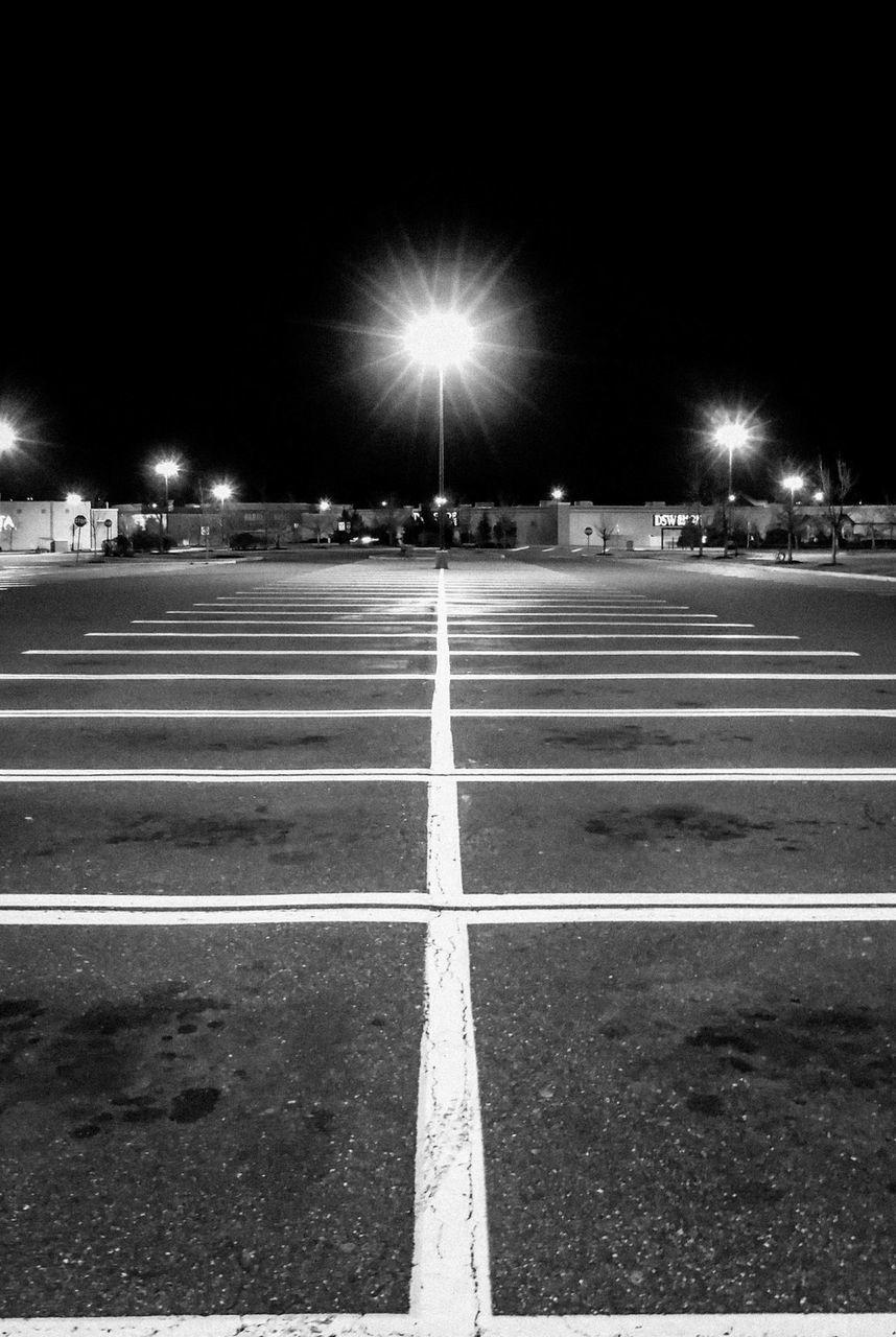 night, illuminated, road marking, street, street light, outdoors, transportation, road, city, no people