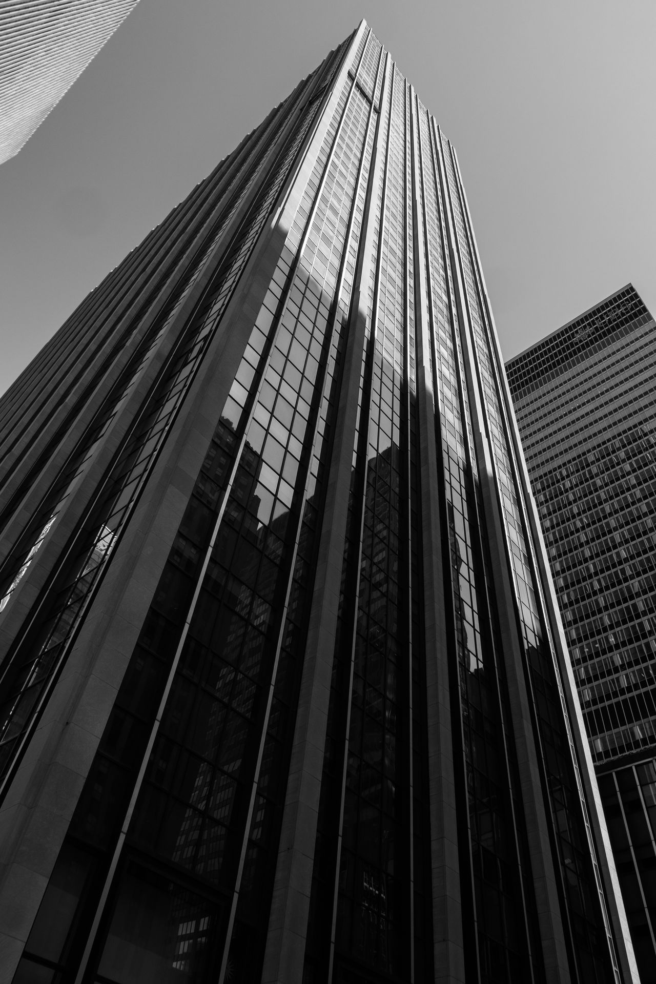 New York City skyscraper Architecture Building Exterior Built Structure City Clear Sky Day Façade Infrastructure Low Angle View Modern Monotone No People Outdoors Sky Skyscraper