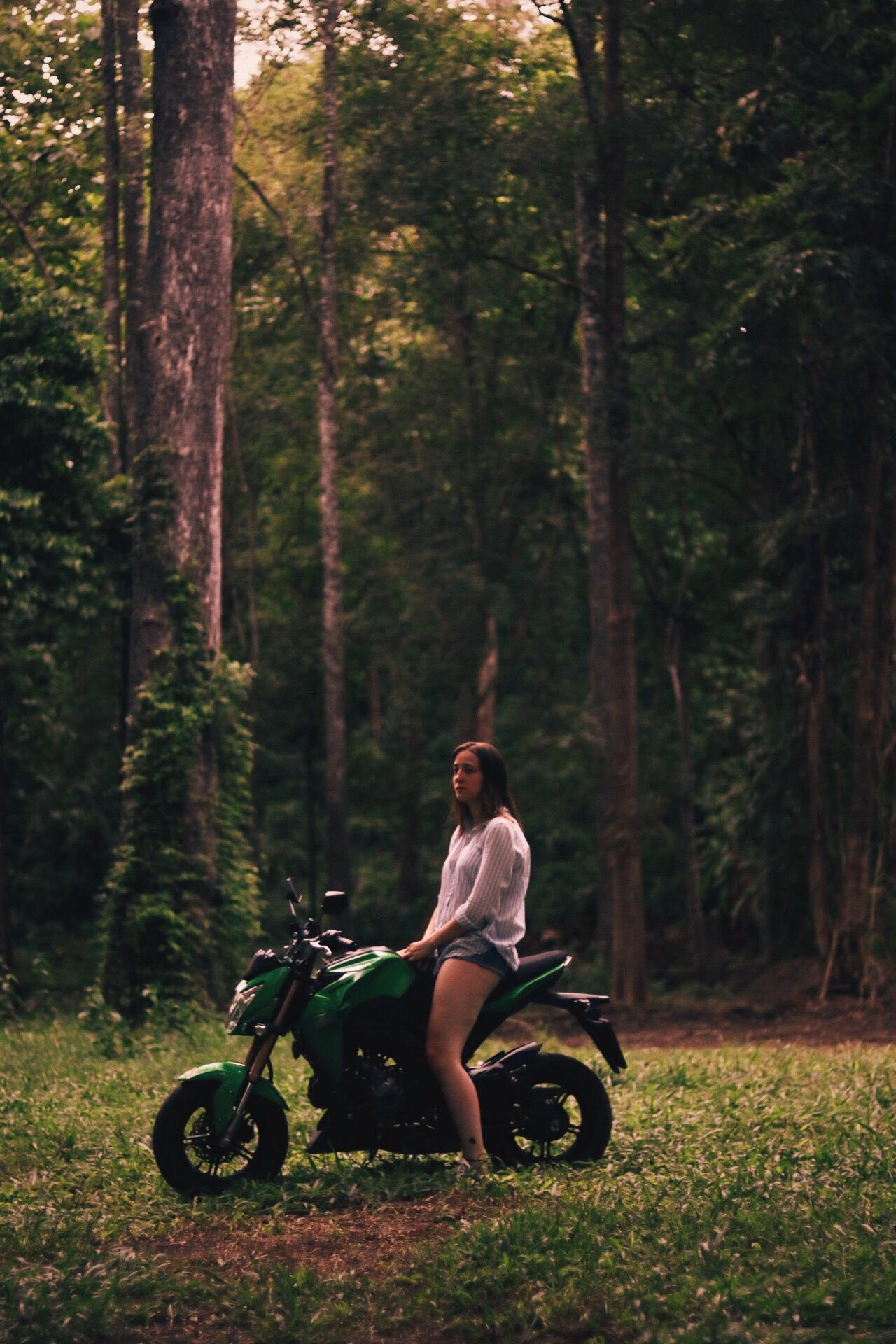 Let's Go. Together. Tree one person full length riding real people Transportation Motorcycle outdoors forest Nature Sitting biker girlonbike girl