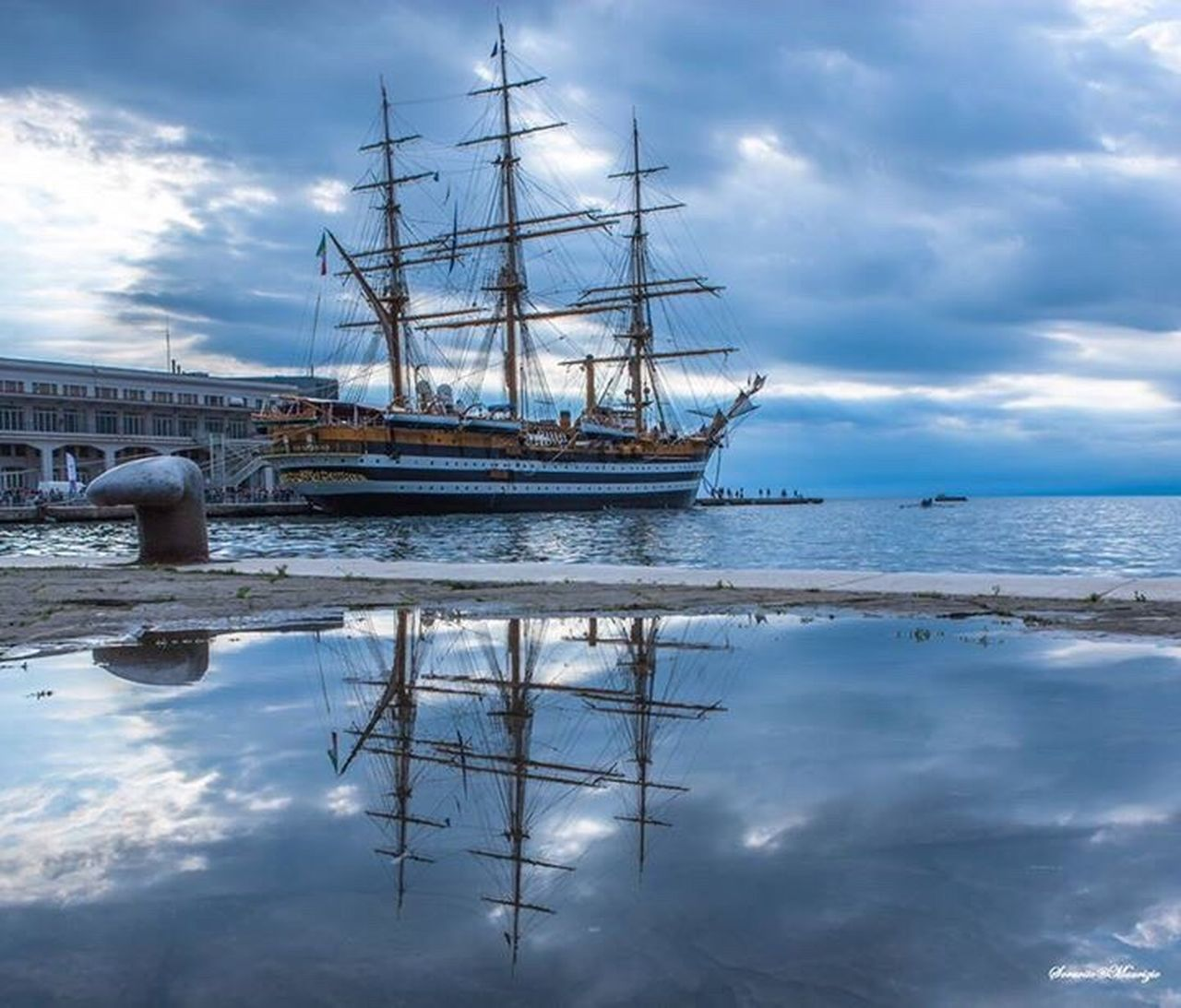 cloud - sky, water, sky, nautical vessel, reflection, no people, nature, sea, outdoors, day, tranquility, harbor, mast, scenics, sailing ship, beauty in nature